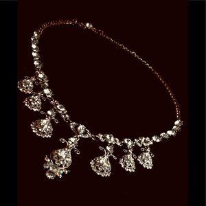 Vintage Aura Borealis Crystal Drop Necklace